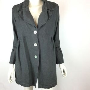 Cut Loose Gray 100% Linen Boho Lagenlook Jacket